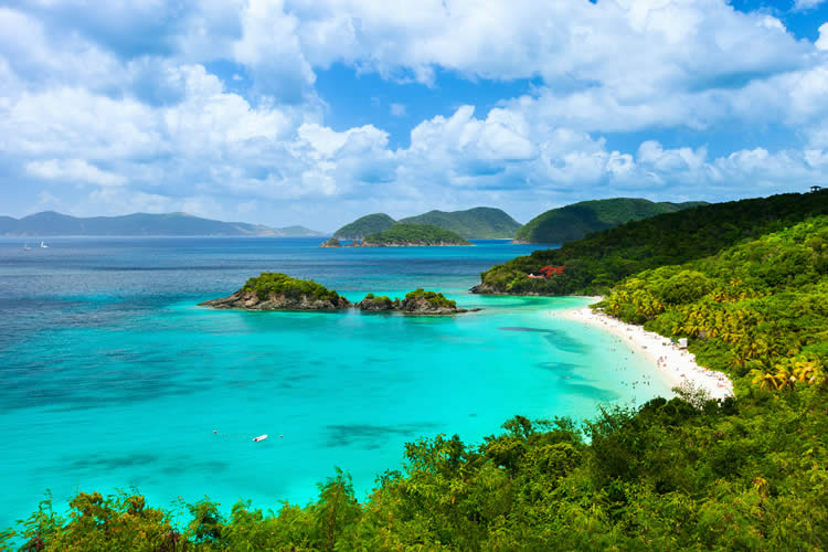 Caribbean beach in St John