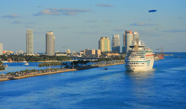 Cruise ship leaving Port of Miami fl