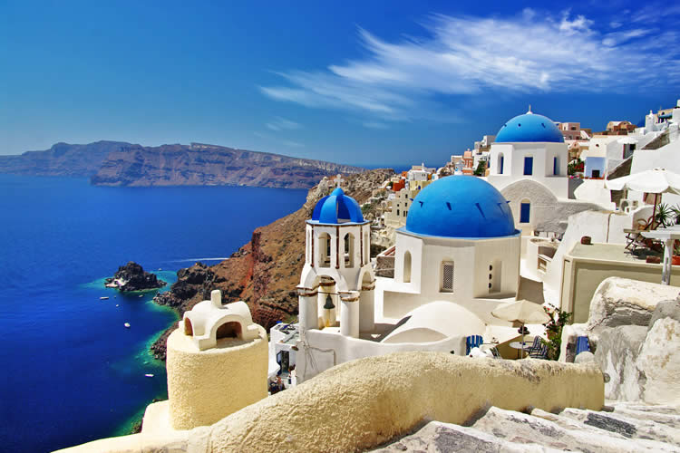 Oia town in Santorini Greece