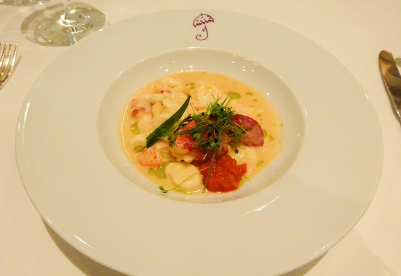 Poached Scallop Gnocchi with Lobster