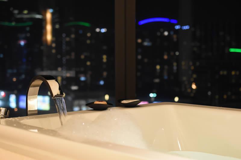 bathtub at night