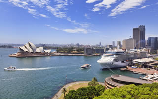 Sydney harbour view and cruise port