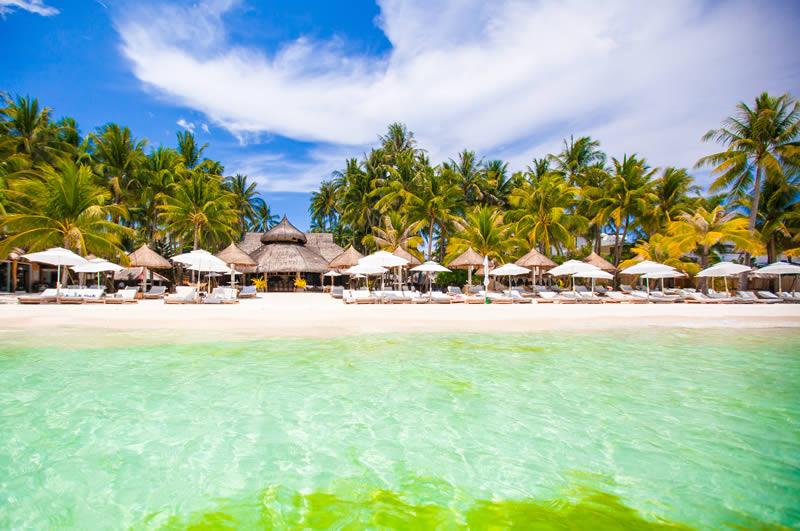 Costa Maya beach and blue water