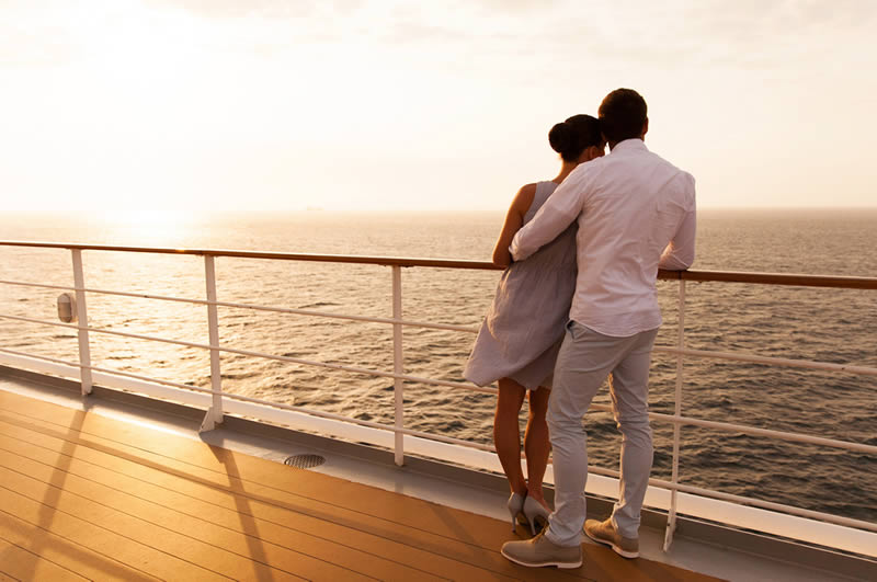 Romantic couple on deck of cruiseship