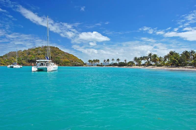 Yacht anchored in Mayreau Island Grenadines