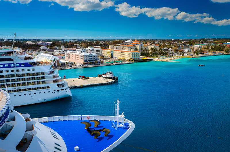 Two ships in port of Nassau Bahamas