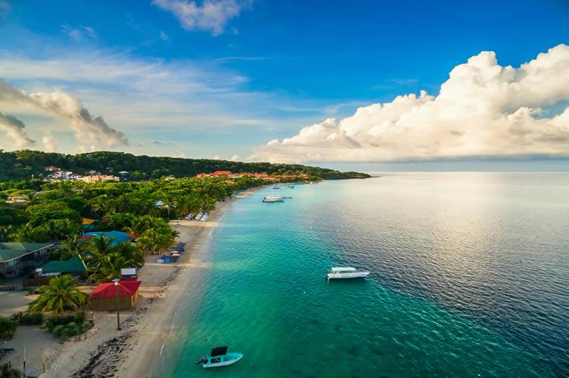 Drone view of Roatan beach in Honduras