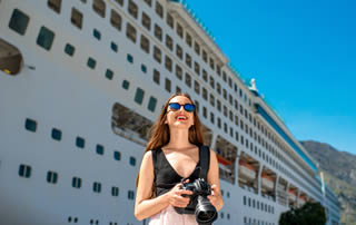 cruise ship and woman