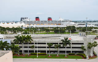 Parking at the cruise port of Miami in Florida