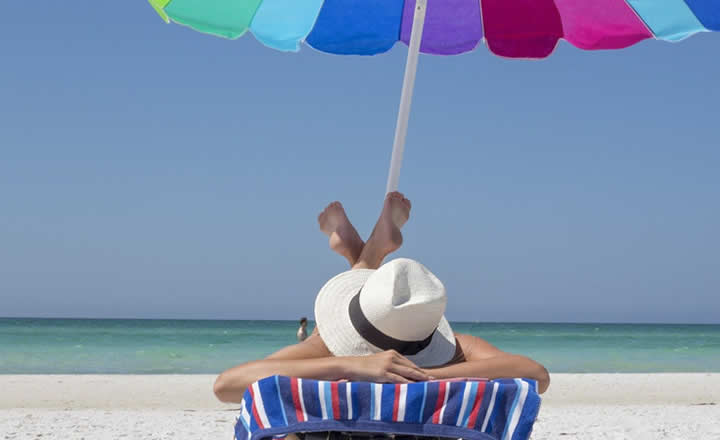 Cocoa Beach sunbathing woman