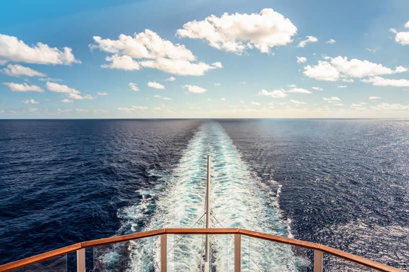 Cruise ship sailing in Caribbean