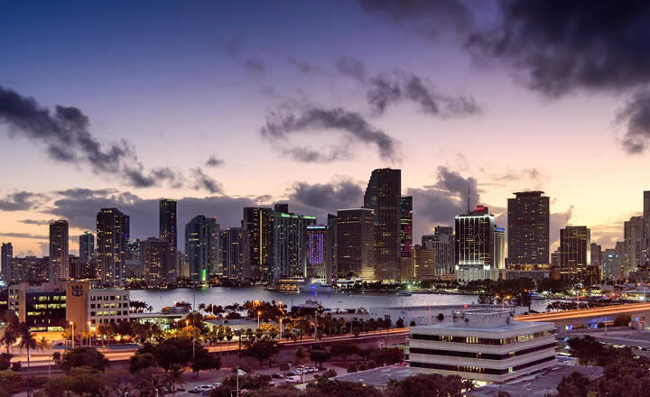 Miami cruise port and downtown in evening