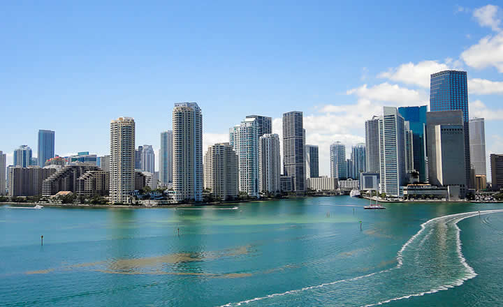 Miami downtown view from cruise port