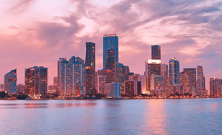 Miami in evening pink colors