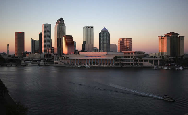 Tampa downtown in evening
