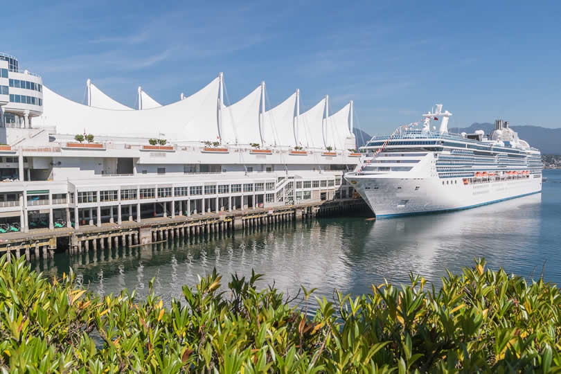 Cruise ship docked at Vancouver Port