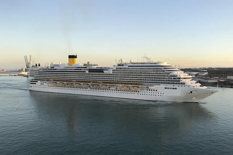 Cruise ship entering port of Civitavecchia Italy