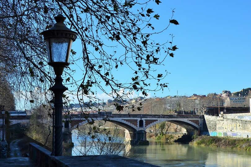 Rome Tiber River in winter
