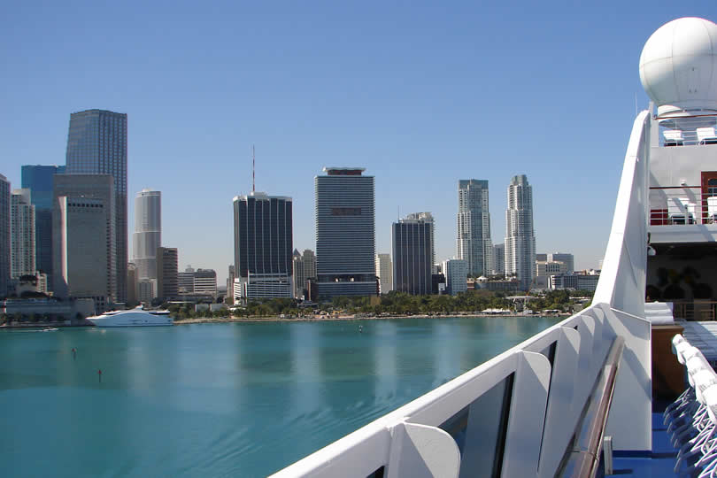 View from cruise ship of Miami downtown