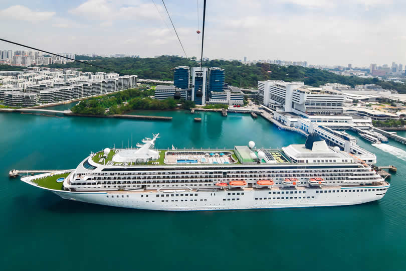 Luxury ship in Singapore cruise port