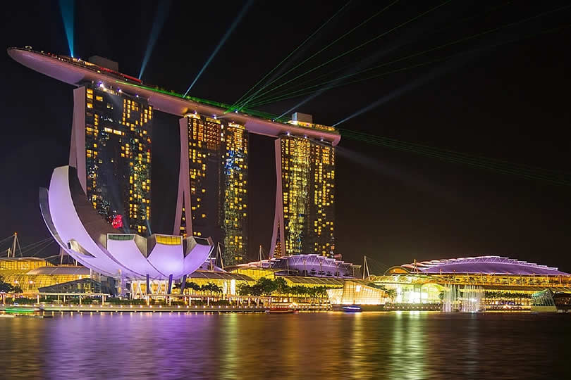 Marina Bay at night in Singapore