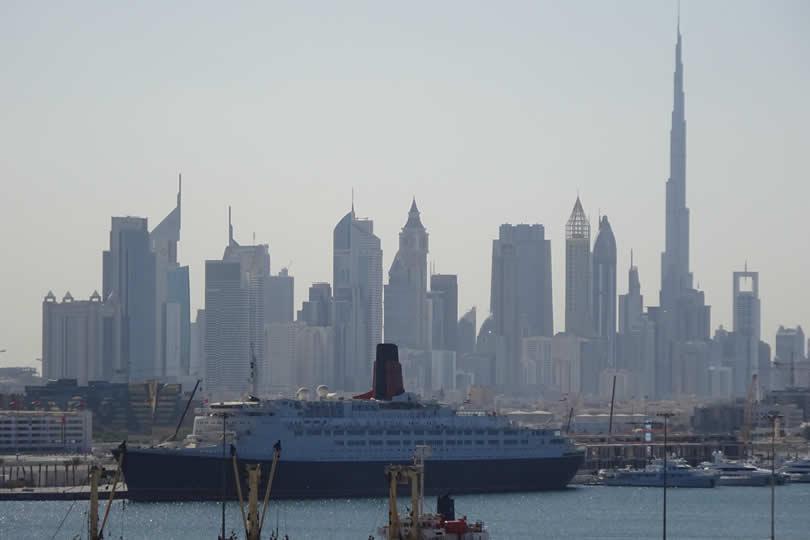 Dubai port and Queen Elizabeth 2 hotel