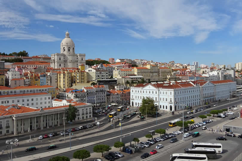 View from cruise ship of Lisbon Alfama