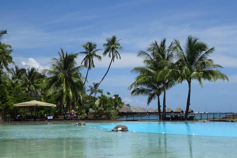 Luxury hotel pool in Papeete Tahiti