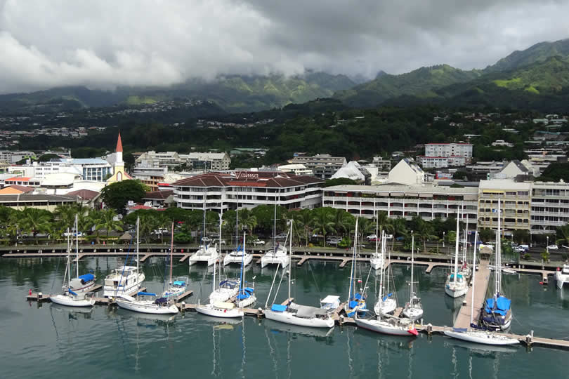 Papeete town centre view from cruise ship