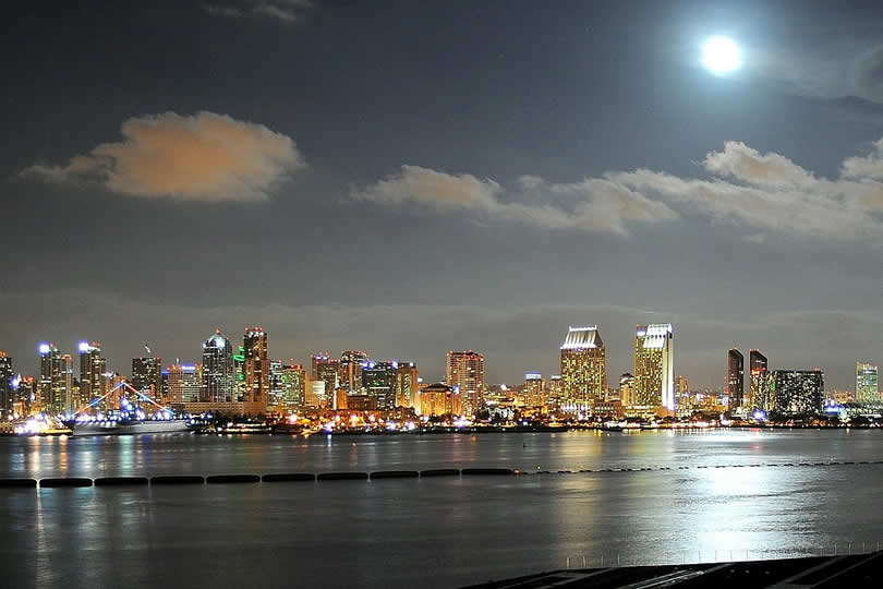 San Diego downtown and port by night