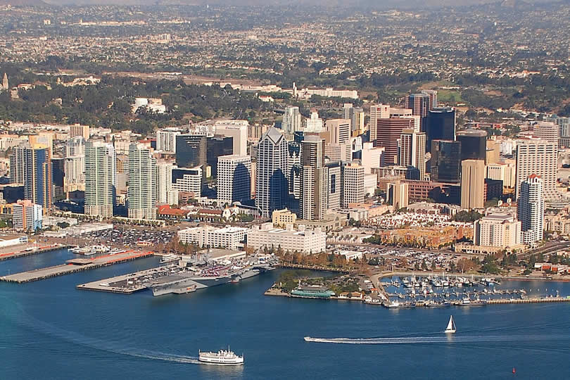 San Diego downtown and port