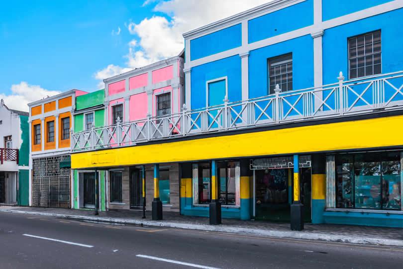 Downtown Nassau Bahamas colorful houses