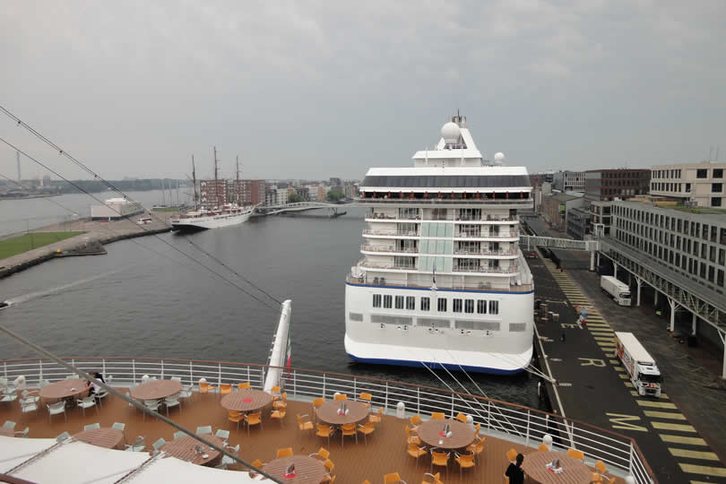 Cruise ship docked in Amsterdam Holland