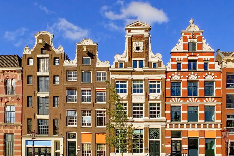 Amsterdam old townhouses facade