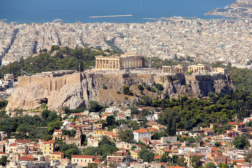 Aerial view of Athens and Port