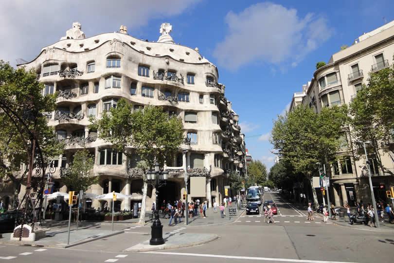 Casa Mila building of Gaudi in Barcelona
