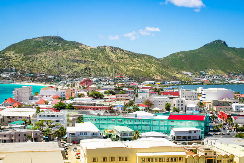 Downtown Philipsburg shops and hotels