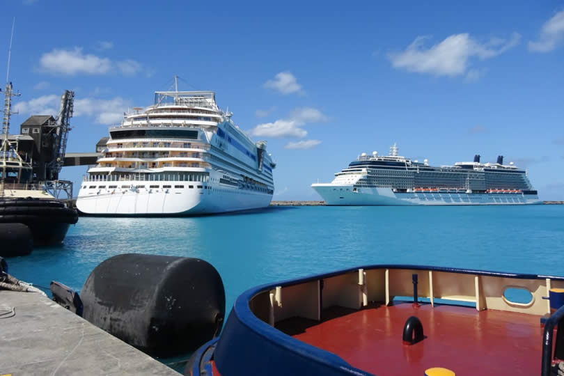 Cruise ships in port Barbados