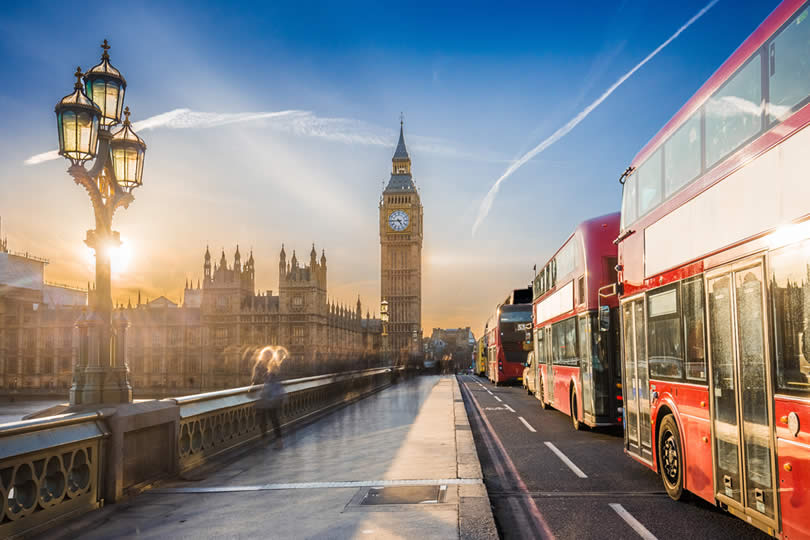 London Westminster Red Buses and Big Ben