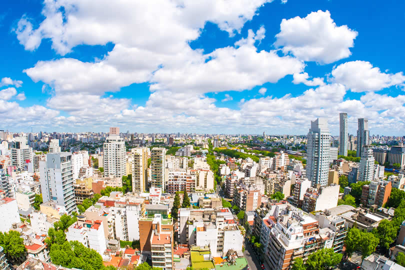 Buenos Aires city view with blue sky